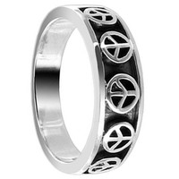 Sterling Silver Oxidized Finish Peace Signs 4mm Engraved Band