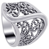 925 Plain Sterling Silver Polished Finish Braided Ring #LWRS189