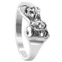 Sterling Silver Polished Finish 12 x 8mm Twin Masks Ring