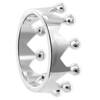 925 Sterling Silver Polished Finish 9mm Crown Ring