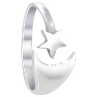 925 Sterling Silver Polished Finish 9 x 4mm Crescent Moon and 5mm Star Ring #LWRS204