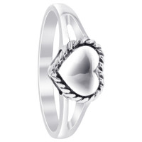 925 Plain Sterling Silver Polished Finish 9mm x 7mm Heart Ring #LWRS211