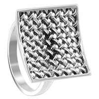 925 Plain Sterling Silver Polished Finish 18mm Square Racket Ring #LWRS212