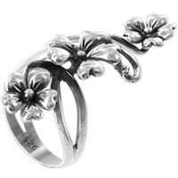 925 Plain Sterling Silver Polished Finish 37 x 13mm Flower Front Ring #LWRS214