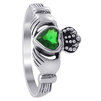 Sterling Silver 6mm x 11mm Emerald Color Cubic Zirconia Claddagh Ring