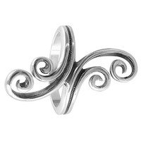 925 Sterling Silver 0.3 x 1.1 inch Swirl Design Ring