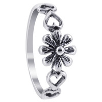 925 Plain Sterling Silver 7mm Floral and Heart Ring #LWRS235