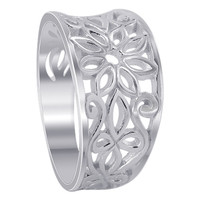 925 Plain Sterling Silver 11mm wide Flower and Swirls Design Ring #MRRS003