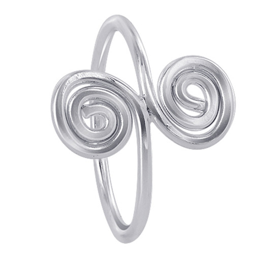 925 Sterling Silver 16mm wide Double Swirls Design Ring