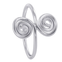 925 Plain Sterling Silver 16mm wide Double Swirls Design Ring #MRRS005