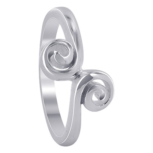 925 Sterling Silver 6mm Front Swirl design Ring