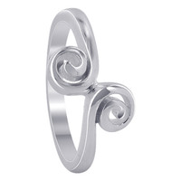 925 Plain Sterling Silver 6mm Front Swirl design Ring #MRRS008