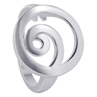 925 Plain Sterling Silver 17mm Round Design with Swirl Ring #MRRS014