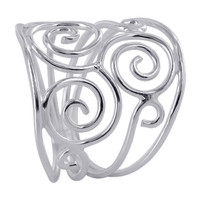 925 Plain Sterling Silver 19mm wide Multiple Swirls Design Ring #MRRS015