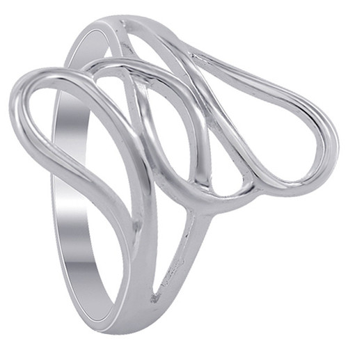 925 Sterling Silver 20mm wide Multiple Teardrop Design Ring