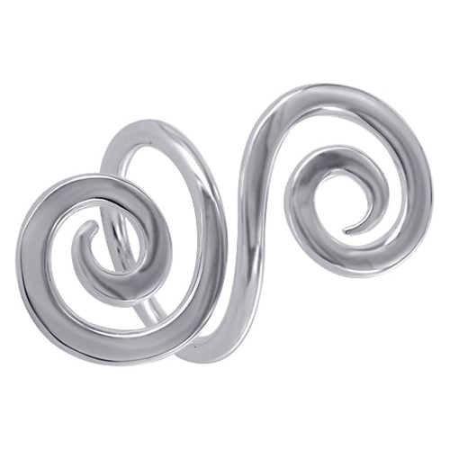 925 Sterling Silver 1.5 inch wide Double Swirls S Like Design Ring