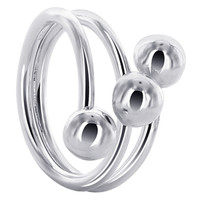 925 Plain Sterling Silver 19mm Front Wire with 6mm Ball accented Ring #NNRS001