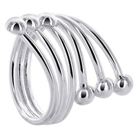 925 Sterling Silver 1 inch Front Wire with 4mm Ball accented Ring #NNRS002