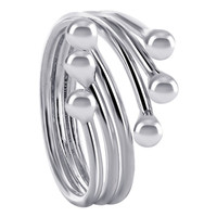 925 Plain Sterling Silver 15mm wide wrap around with 3mm ball Ring #NNRS008