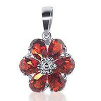 14k White Gold Garnet Gemstone Flower Pendant