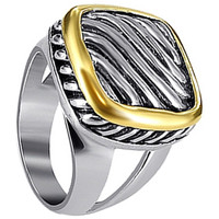 925 Sterling Silver Strip Gold Tone Accent Ring