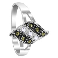 925 Sterling Silver 1mm Clear Cubic Zirconia and Marcasite Ring #PLRS002