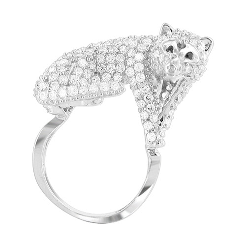 925 Sterling Silver 0.7 x 1.2 inch Cubic Zirconia Mounted Full Body Fox Ring