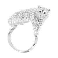 925 Sterling Silver 0.7 x 1.2 inch Cubic Zirconia Mounted Full Body Fox Ring #PNRS002