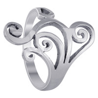 925 Sterling Silver 22mm wide Swirl Design Ring