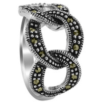 925 Sterling Silver Marcasite Triple Hoop Design Ring