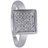 Sterling Silver Square Micro Pave set Cubic Zirconia Ring