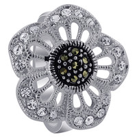 925 Sterling Silver Clear Cubic Zirconia Flower with Marcasite Ring #R006