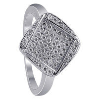 925 Sterling Silver Cubic Zirconia Micro Pave Set Ring