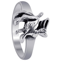 925 Plain Sterling Silver Rabbit Ring #R012