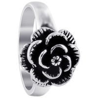 925 Sterling Silver Oxidized Rose Ring