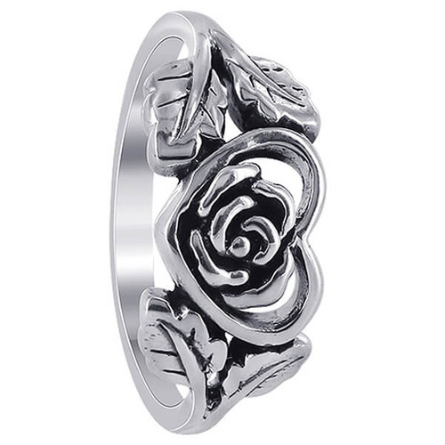 925 Sterling Silver Heart with Rose and Leaves Rings