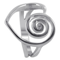 925 Plain Sterling Silver Heart with Swirl on One Side Rings #R030