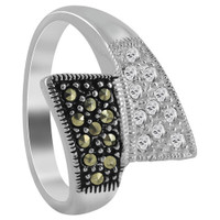 925 Sterling Silver Marcasite and Cubic Zirconia Pave set Asymmetric design Ring