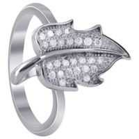 925 Sterling Silver Micro Pave Leaf Ring