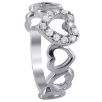 925 Sterling Silver Prong Set Cubic Zirconia Open Heart Links Ring