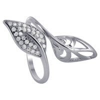 925 Sterling Silver wide Double Leaf Rings