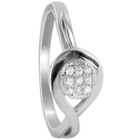 925 Sterling Silver Round Cubic Zirconia Pave Set Rings #R046