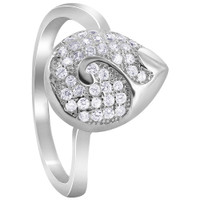925 Sterling Silver Pave Set Cubic Zirconia Teardrop with Swirl Rings #R048