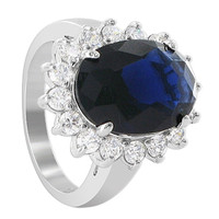 925 Sterling Silver 15 x 18mm Oval Sapphire Color Cubic Zirconia Designer Ring #RSRS003