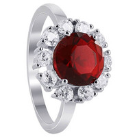 Sterling Silver Garnet Color Cubic Zirconia Solitare with accents Ring