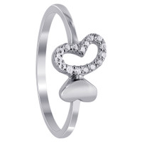 925 Sterling Silver Twin Open Hearts with Cubic Zirconia studded Ring