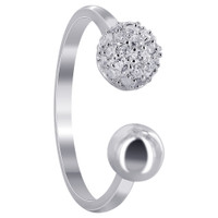 925 Sterling Silver 6mm Cubic Zirconia Studded Ball with 5mm Plain Ball Ring #SGRS007