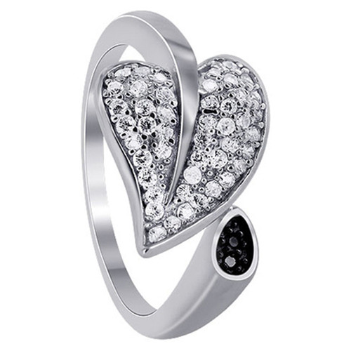 925 Sterling Silver 1mm Cubic Zirconia Pave Set Leaf Ring