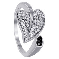 925 Sterling Silver 1mm Cubic Zirconia Pave Set Leaf Ring #SGRS009