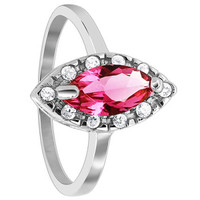 925 Sterling Silver Marquise Rose Cubic Zirconia Solitaire with accents Ring